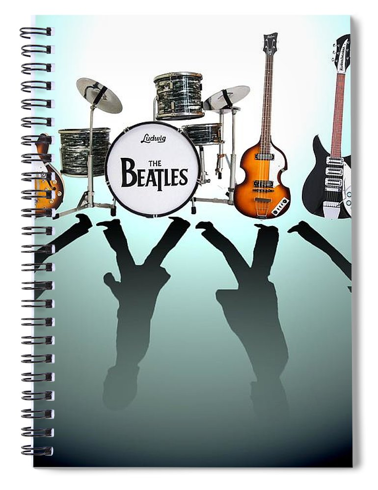 The Beatles Spiral Notebook featuring the digital art The Beatles by Yelena Day