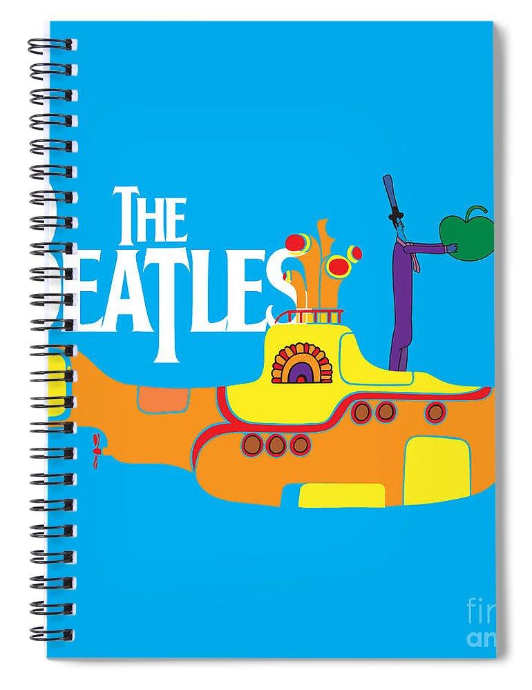 Artwork Spiral Notebook featuring the digital art The Beatles No.11 by Geek N Rock