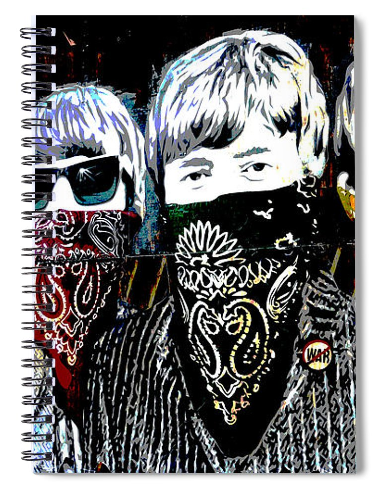 Banksy Spiral Notebook featuring the photograph The Beatles wearing face masks by RicardMN Photography