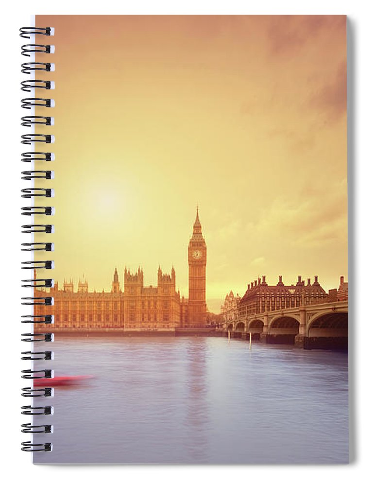 Clock Tower Spiral Notebook featuring the photograph The Big Ben And Parliament In London by Mammuth