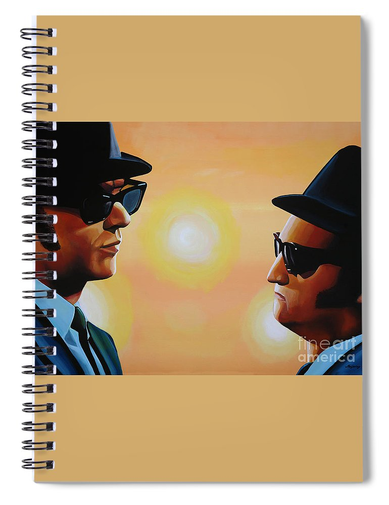 The Blues Brothers Spiral Notebook featuring the painting The Blues Brothers by Paul Meijering