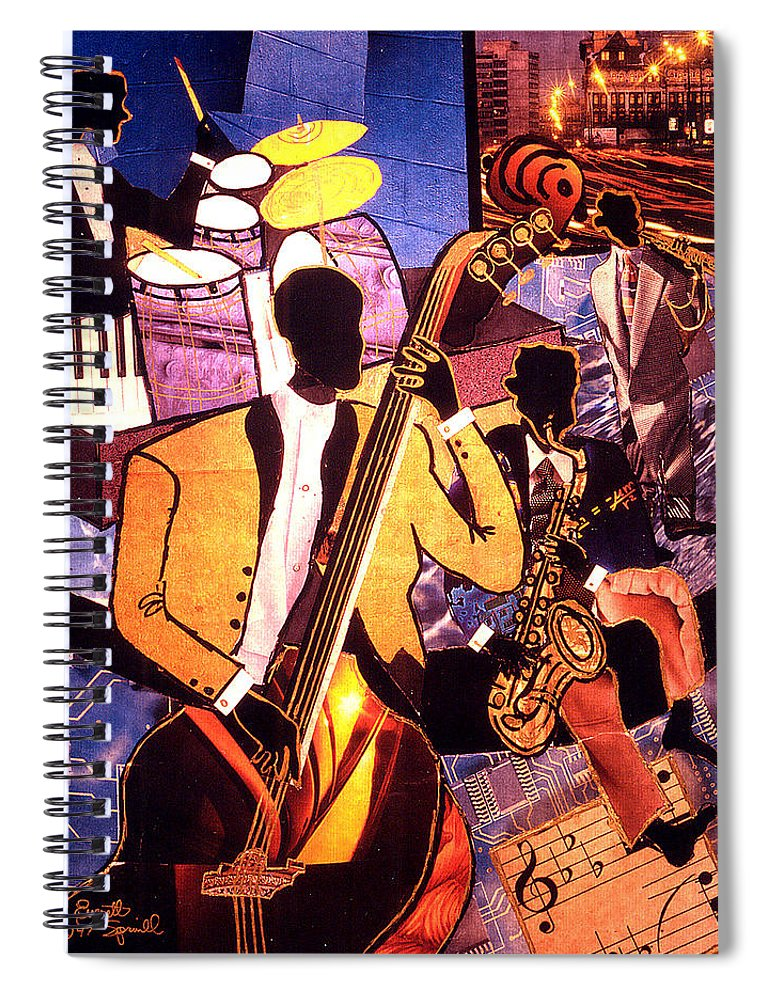 Everett Spruill Spiral Notebook featuring the painting The Blues People by Everett Spruill