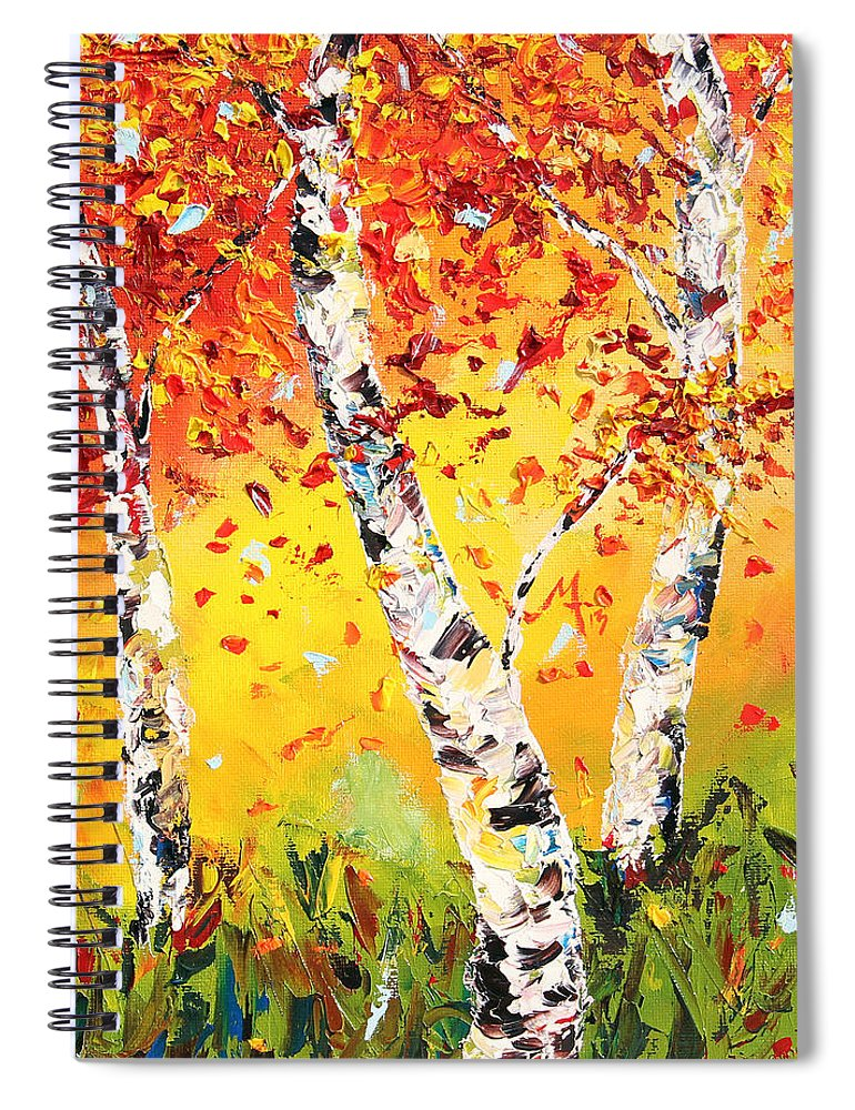 Autumn Spiral Notebook featuring the painting The Change by Meaghan Troup