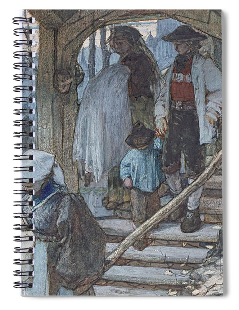 Hague School Spiral Notebook featuring the drawing The Christening Gate In Lausanne, C.1861 by Matthijs Maris