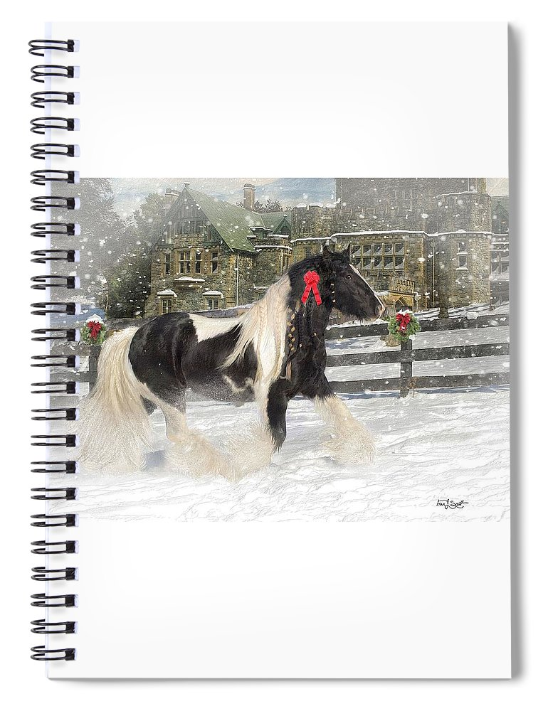 Christmas Spiral Notebook featuring the mixed media The Christmas Pony by Fran J Scott