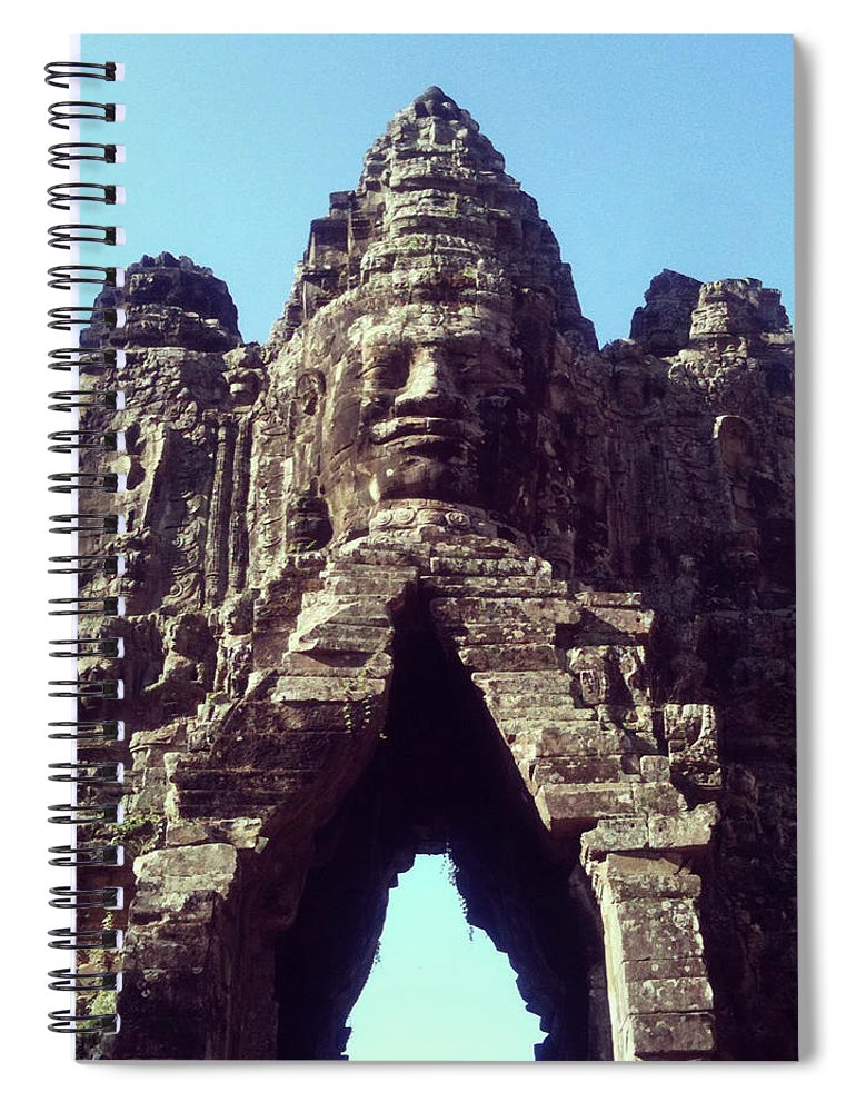 Arch Spiral Notebook featuring the photograph The City Gates At Angkor by Lasse Kristensen