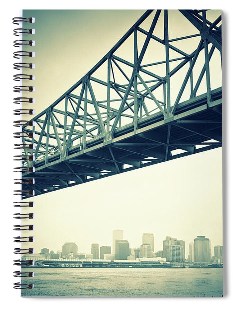 Desaturated Spiral Notebook featuring the photograph The Crescent City Connection In New by Moreiso