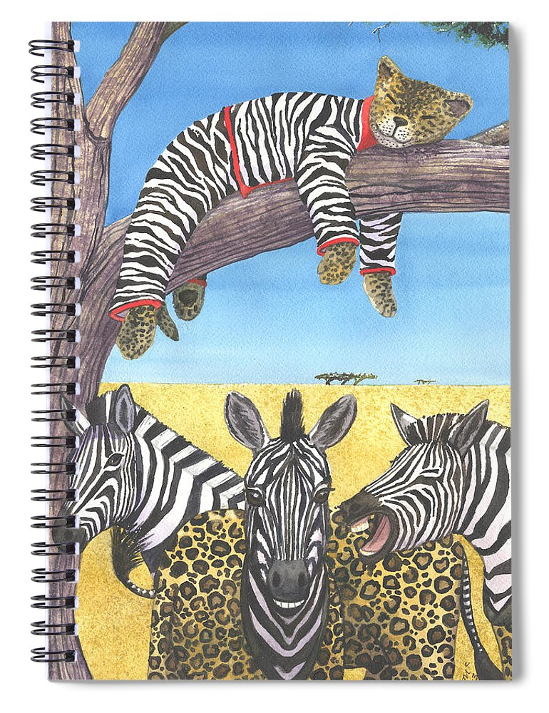 Zebra Spiral Notebook featuring the painting The Crossdressers by Catherine G McElroy
