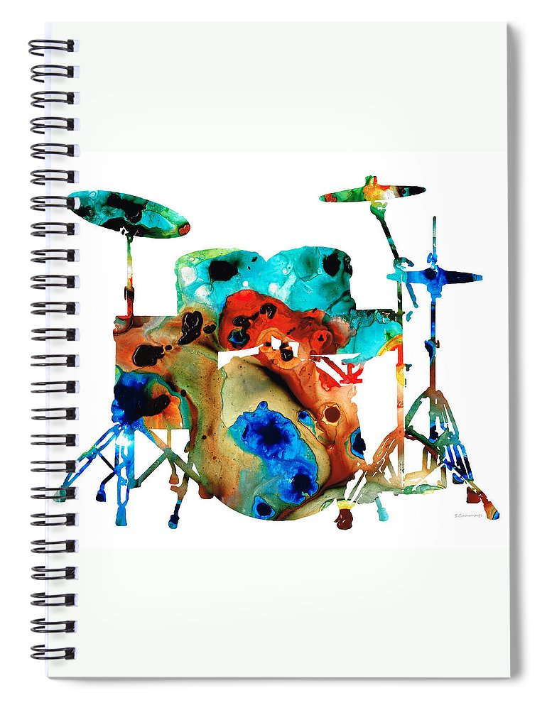 Drum Spiral Notebook featuring the painting The Drums - Music Art By Sharon Cummings by Sharon Cummings