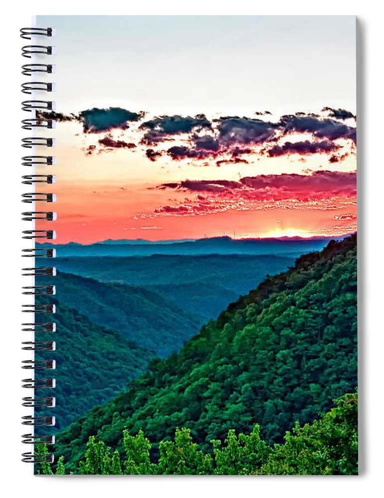 Sunset Spiral Notebook featuring the photograph The Far Hills 2 by Steve Harrington