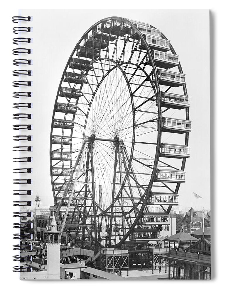 Fairground Spiral Notebook featuring the photograph The Ferris Wheel At The Worlds Columbian Exposition Of 1893 In Chicago Bw Photo by American Photographer