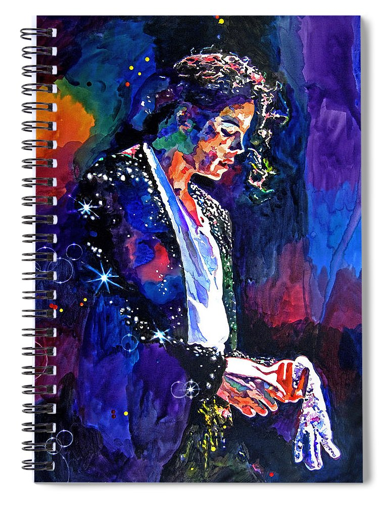 Michael Jackson Spiral Notebook featuring the painting The Final Performance - Michael Jackson by David Lloyd Glover