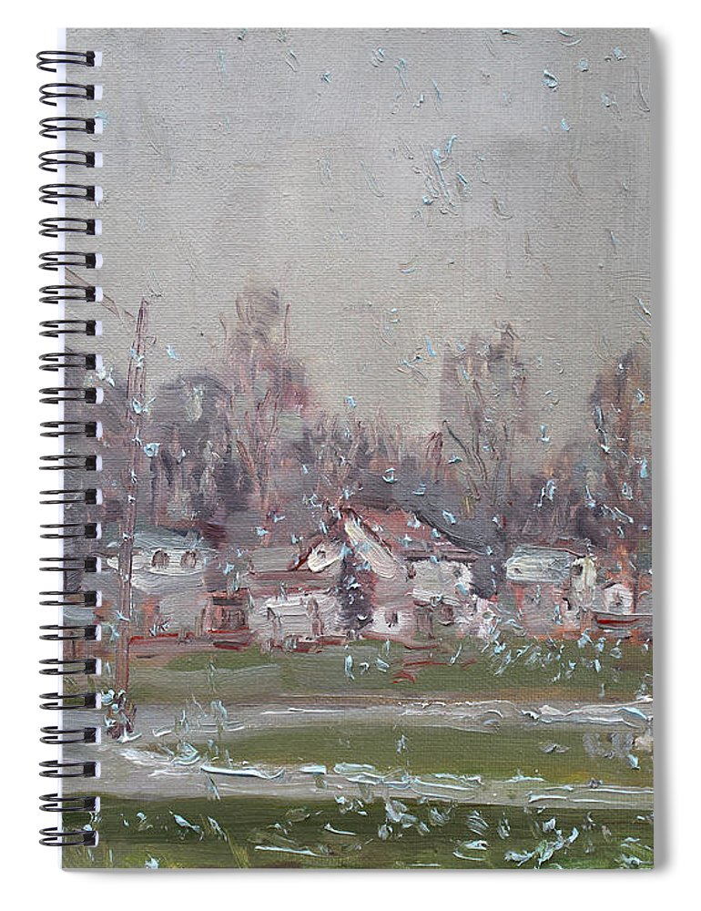 First Snowflakes Spiral Notebook featuring the painting The First Snowflakes Of The Season by Ylli Haruni