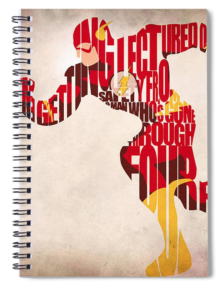 Flash Spiral Notebook featuring the digital art The Flash by Inspirowl Design