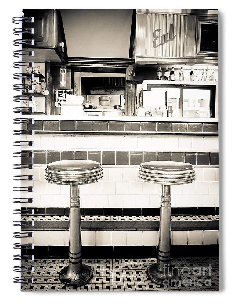 Diner Spiral Notebook featuring the photograph The Four Aces Diner by Edward Fielding