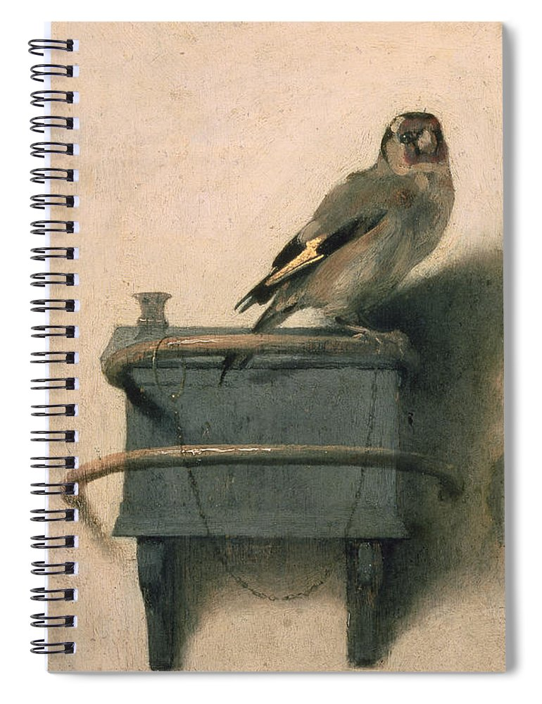 Bird Spiral Notebook featuring the painting The Goldfinch by Carel Fabritius