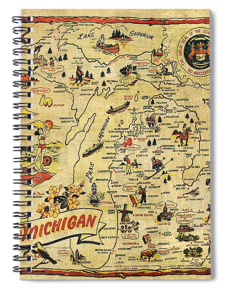 Michigan Spiral Notebook featuring the painting The Great Lakes State by Michelle Calkins