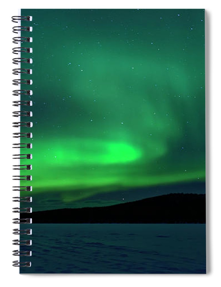 Snow Spiral Notebook featuring the photograph The Green Light Of The Aurora by Dave Moorhouse