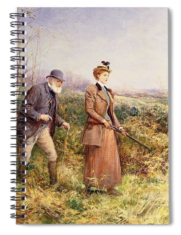 Shooting Spiral Notebook featuring the painting The Gun Shot by Heywood Hardy