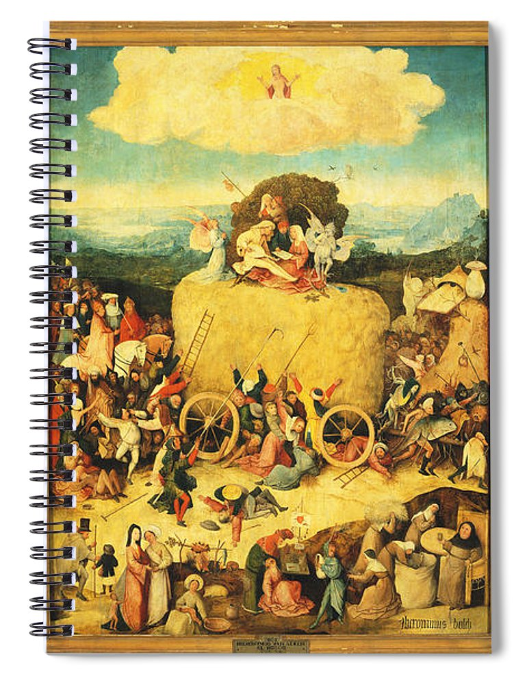 9084cf50763 Hieronymus Bosch Spiral Notebook featuring the painting The Haywain Triptych  by Hieronymus Bosch