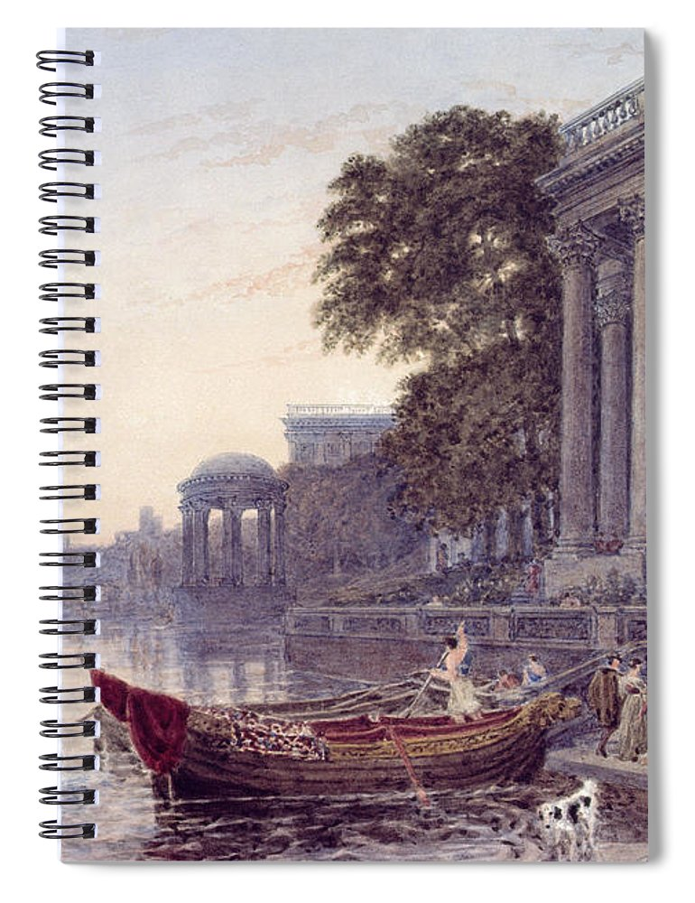 Balustrade Boat Folly Pillars River Spiral Notebook featuring the photograph The Landing Stage by George the Younger Barret