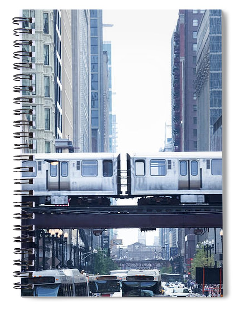 Scenics Spiral Notebook featuring the photograph The Loop And El Train In Chicago by Yinyang