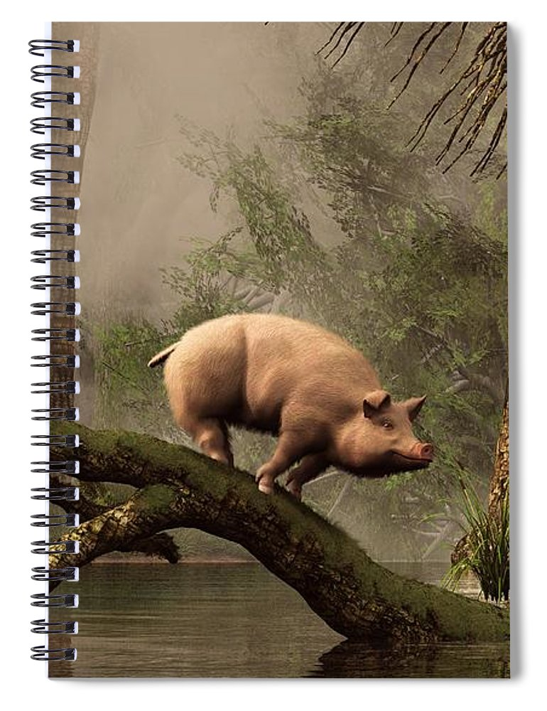 Pig Spiral Notebook featuring the digital art The Lost Pig by Daniel Eskridge
