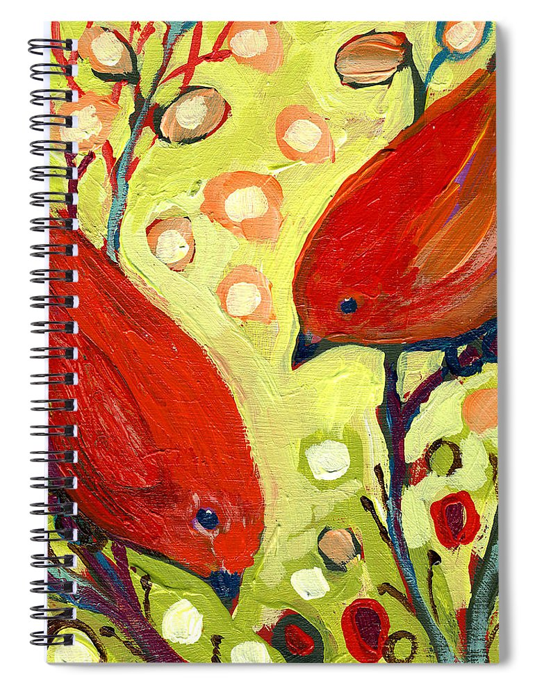 Bird Spiral Notebook featuring the painting The NeverEnding Story No 2 by Jennifer Lommers