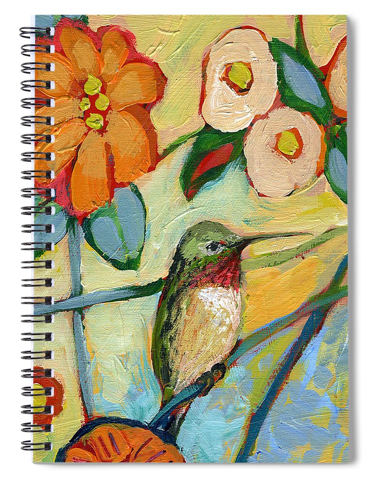 Hummingbird Spiral Notebook featuring the painting The Neverending Story No 6 by Jennifer Lommers