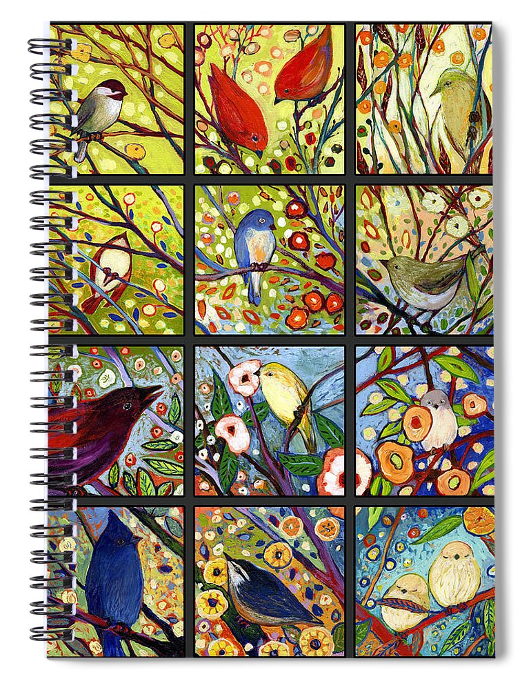 Bird Spiral Notebook featuring the painting The NeverEnding Story Set of 12 a2 by Jennifer Lommers