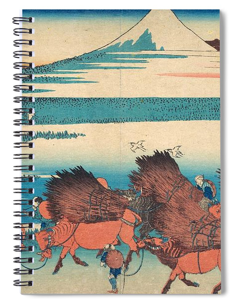 1830-1832 Spiral Notebook featuring the painting The New Fields At Ono In Suruga Province by Katsushika Hokusai
