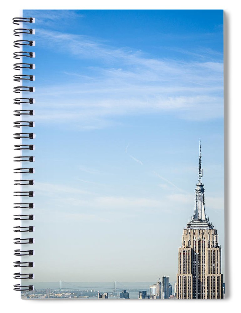 Lower Manhattan Spiral Notebook featuring the photograph The New York City Empire State Building by Franckreporter