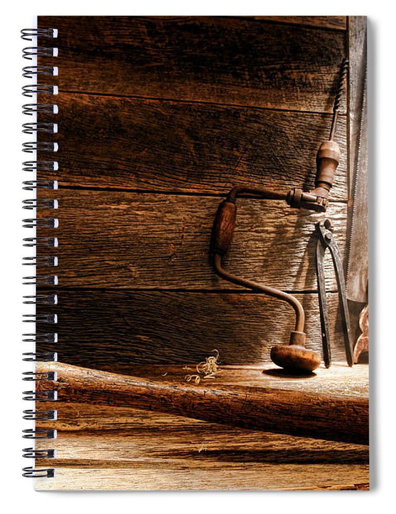 Carpentry Spiral Notebook featuring the photograph The Old Workshop by Olivier Le Queinec