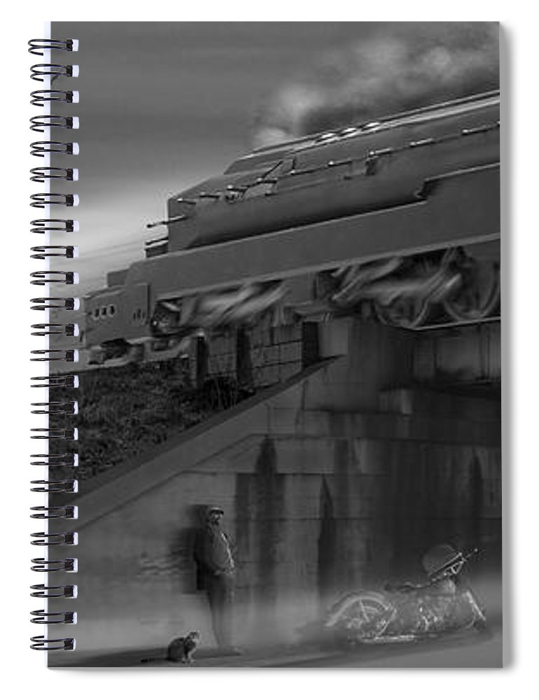 Motorcycle Spiral Notebook featuring the photograph The Overpass 2 Panoramic by Mike McGlothlen