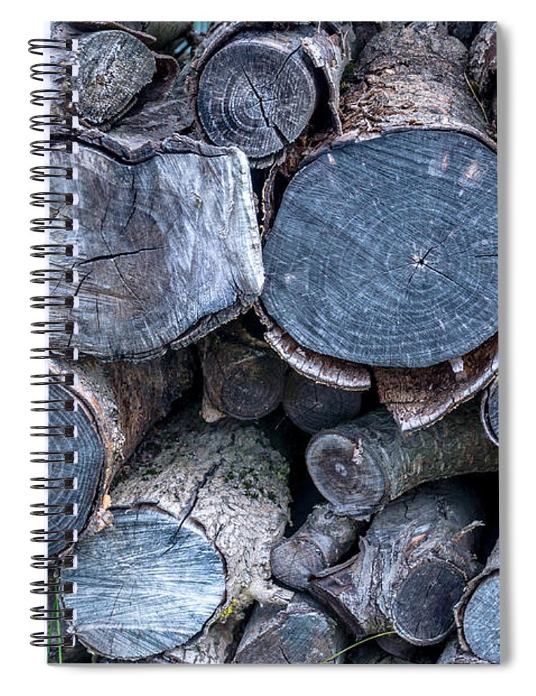 Michelle Meenawong Spiral Notebook featuring the photograph The Pile Of Logs by Michelle Meenawong