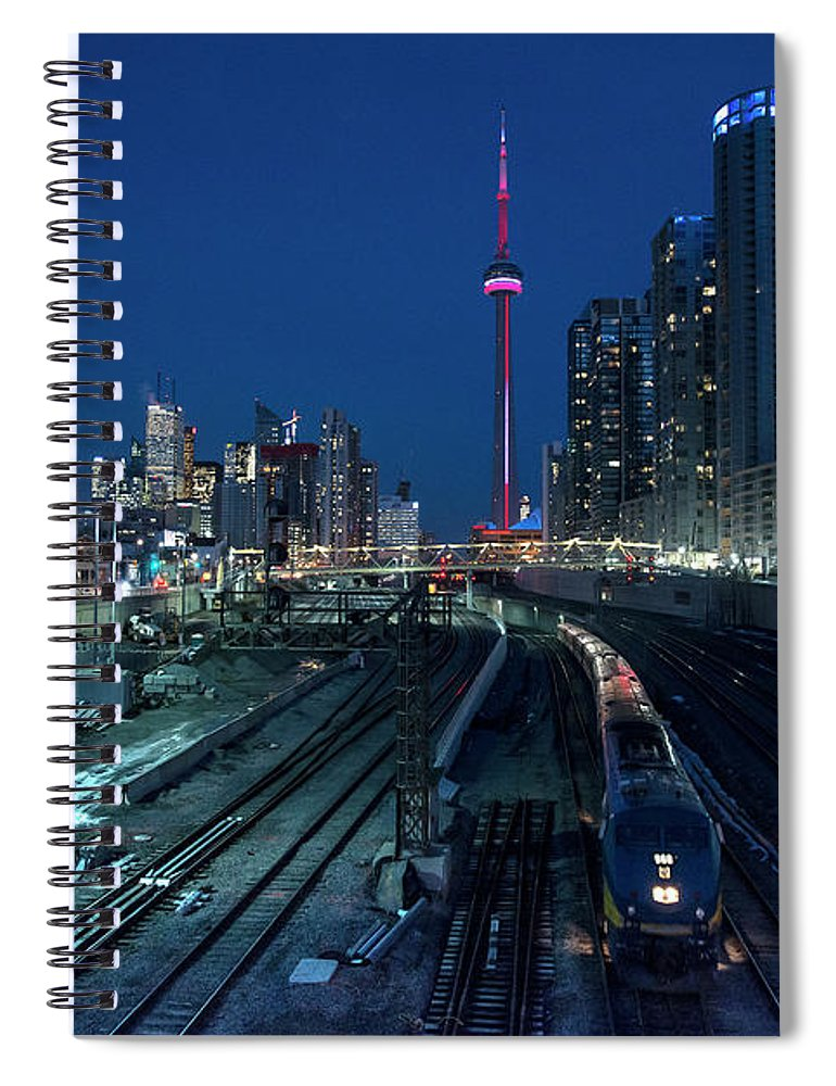 Train Spiral Notebook featuring the photograph The Railway Lands Toronto by This Image
