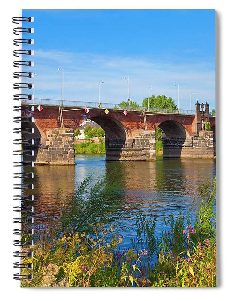 Roman Spiral Notebook featuring the photograph The Roman Bridge Over Mosel River In by Werner Dieterich