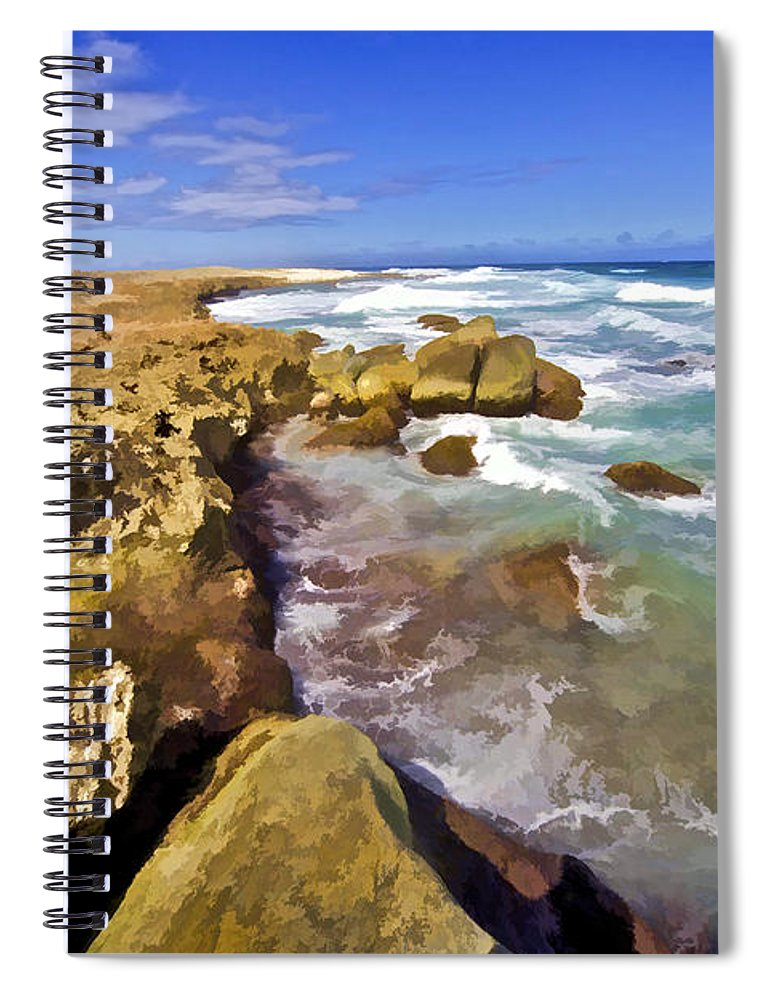 Abc Islands Spiral Notebook featuring the photograph The Rough Side Of Aruba II by David Letts