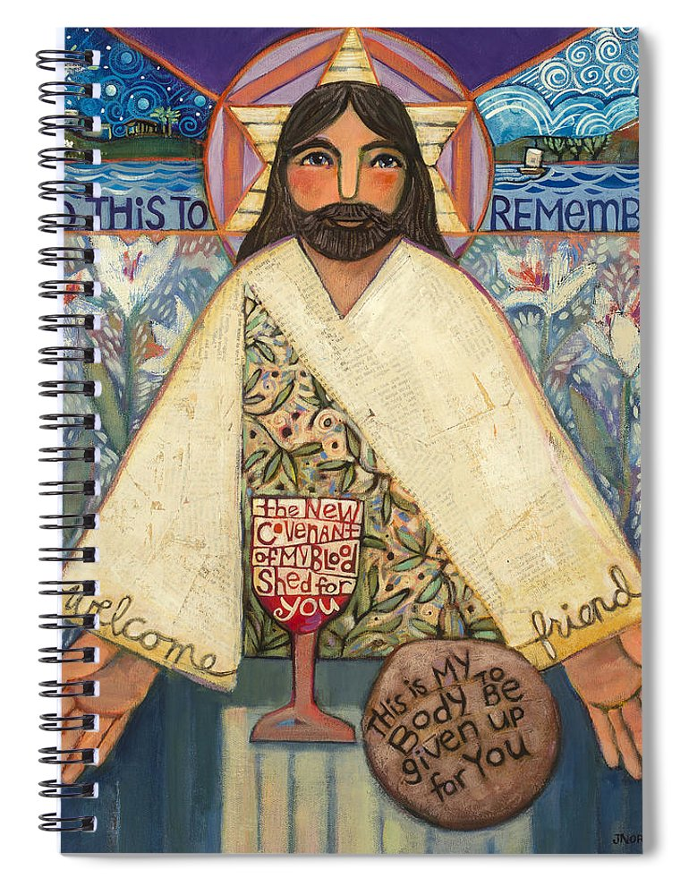 Jen Norton Spiral Notebook featuring the painting The Sacrifice by Jen Norton