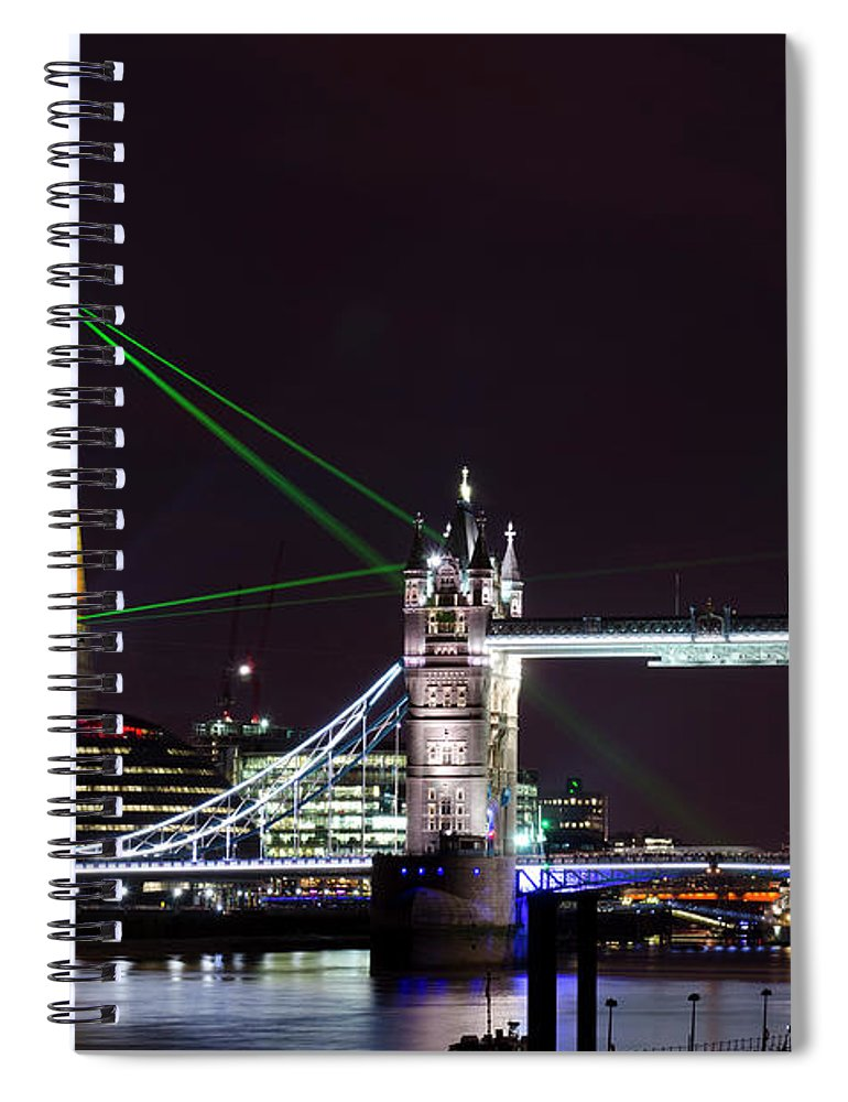Gothic Style Spiral Notebook featuring the photograph The Shard Skyscraper Opening Laser by Dynasoar