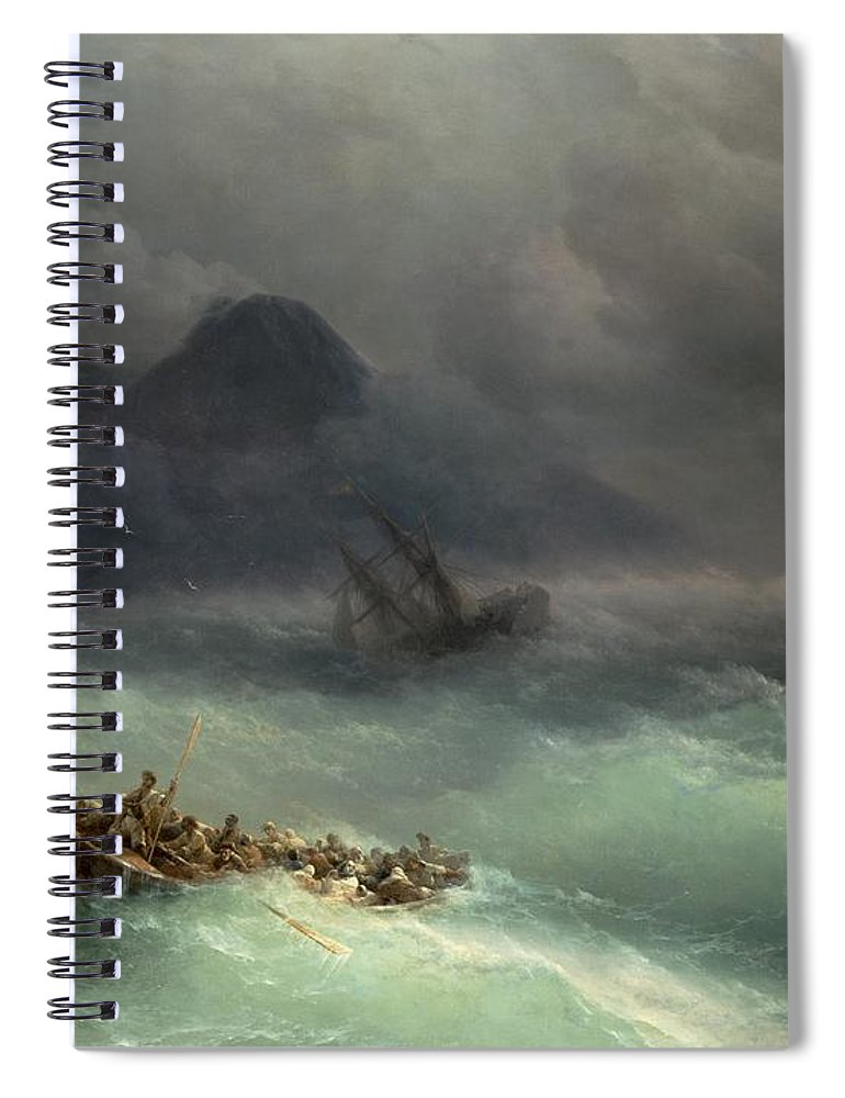 Storm Spiral Notebook featuring the painting The Shipwreck by Ivan Konstantinovich Aivazovsky