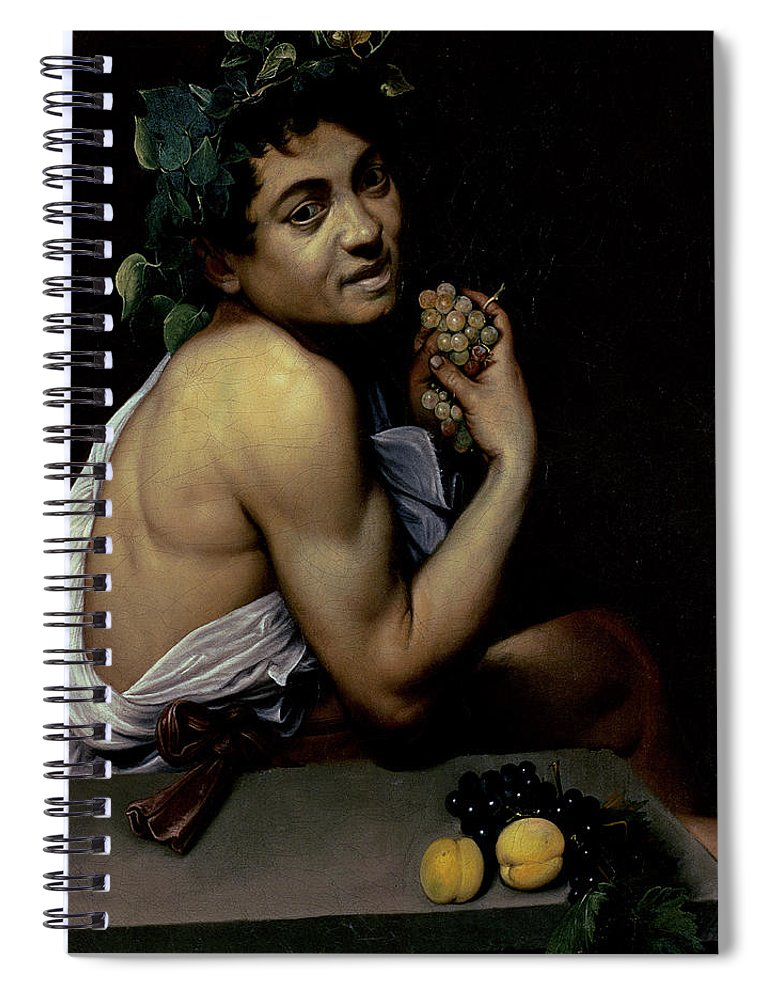 The Sick Bacchus Spiral Notebook featuring the painting The Sick Bacchus, 1591 by Michelangelo Merisi da Caravaggio