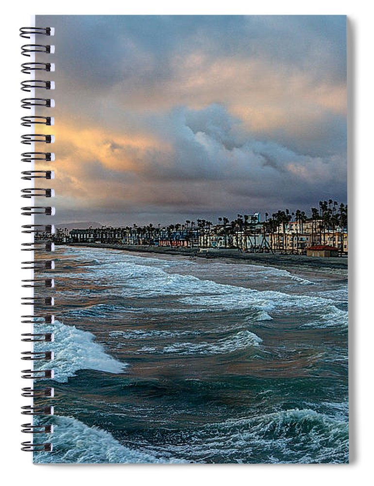 Oceanside Spiral Notebook featuring the photograph The Storm Clouds Roll In by Ann Patterson