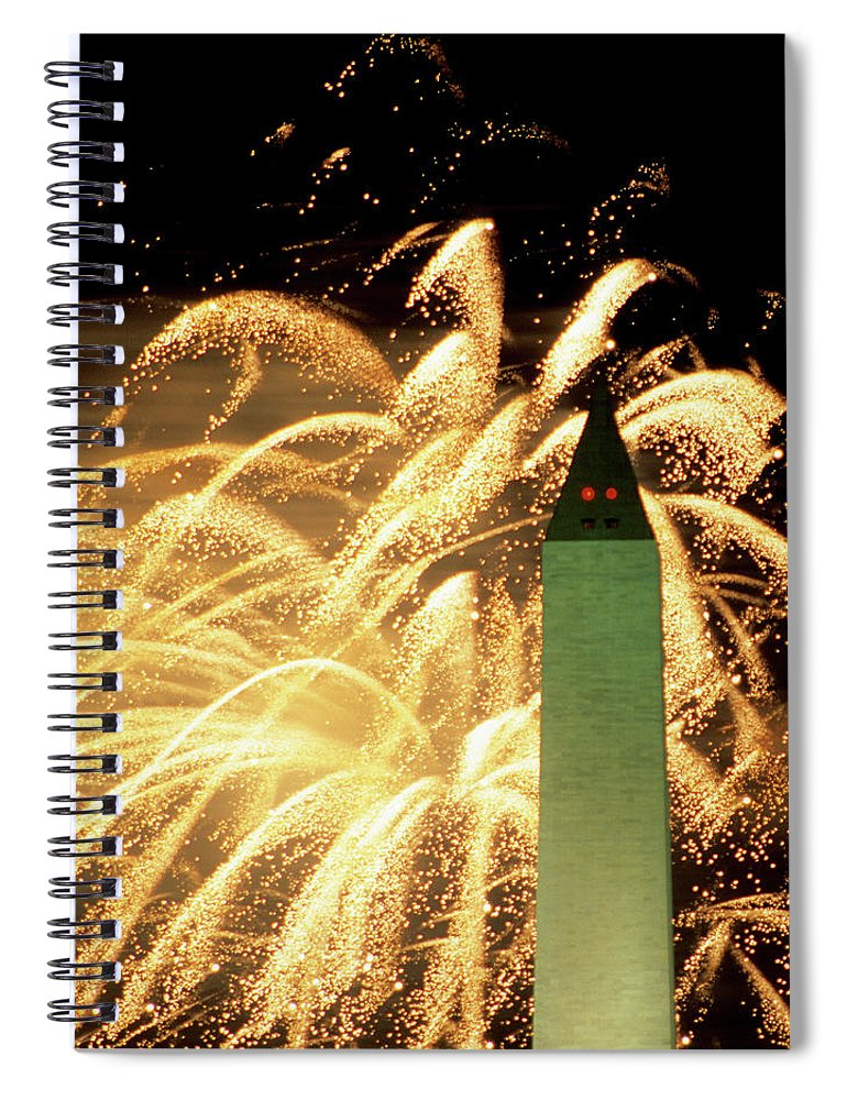 Firework Display Spiral Notebook featuring the photograph The Washington Monument And Fireworks by Hisham Ibrahim