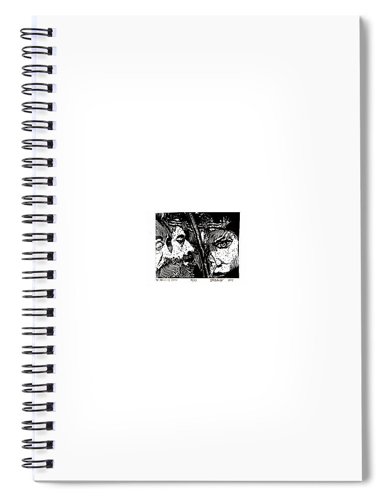 Spectators At The Crucifiction Of Jesus Christ Spiral Notebook featuring the relief The Watchers Of Death by Seth Weaver