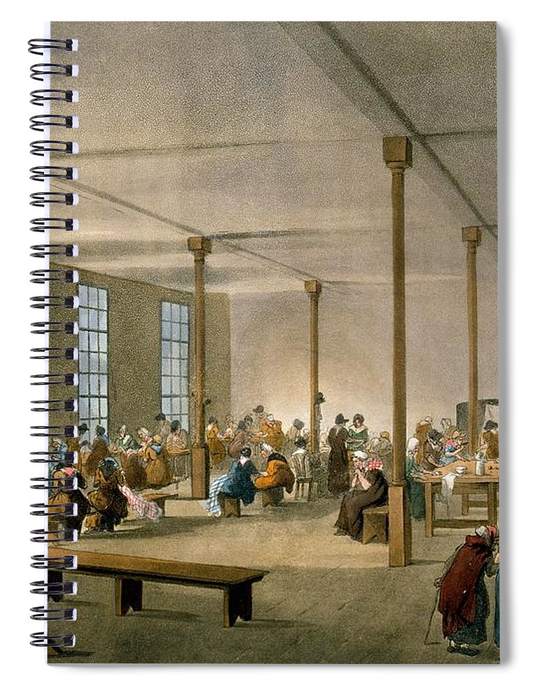 Workhouse Spiral Notebook featuring the drawing The Workhouse, St James, Parish, London by T. & Pugin, A.C. Rowlandson