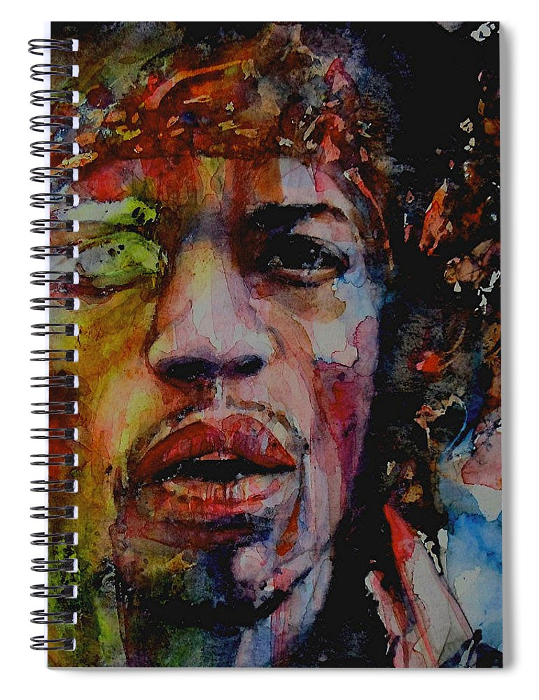 Hendrix Spiral Notebook featuring the painting There Must Be Some Kind Of Way Out Of Here by Paul Lovering