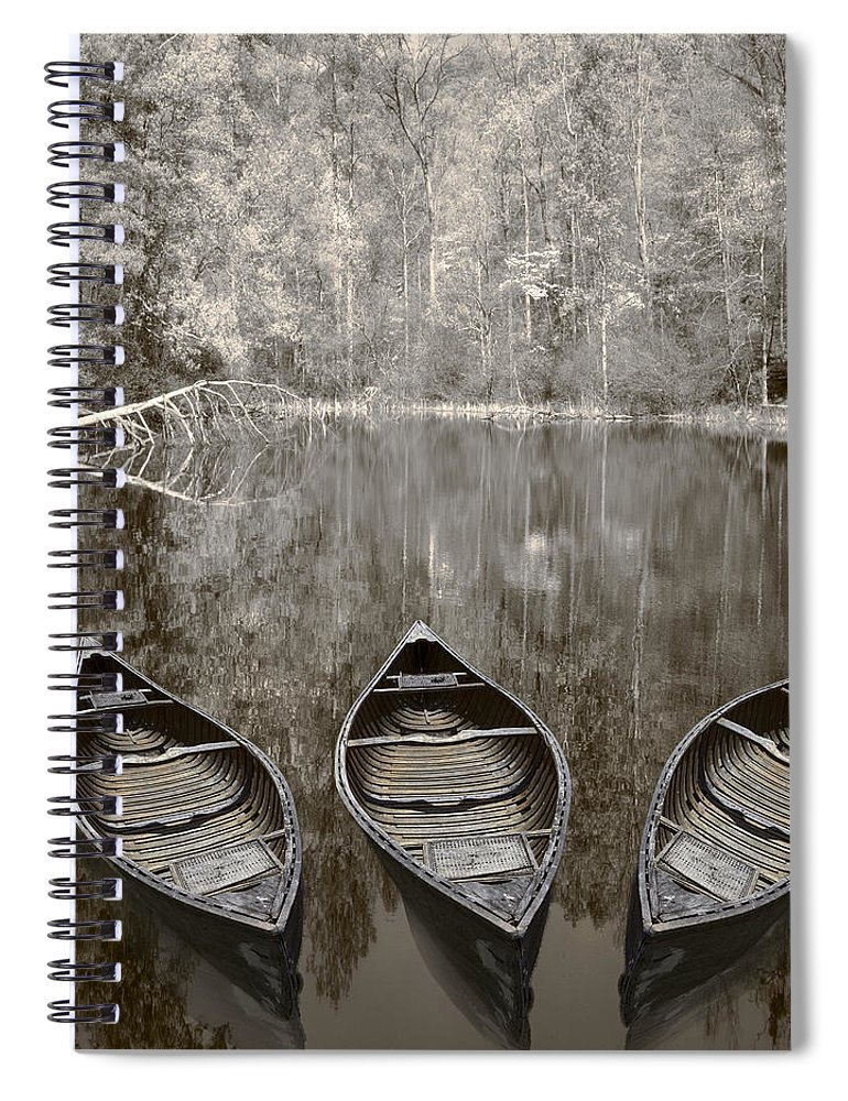 Appalachia Spiral Notebook featuring the photograph Three Old Canoes by Debra and Dave Vanderlaan