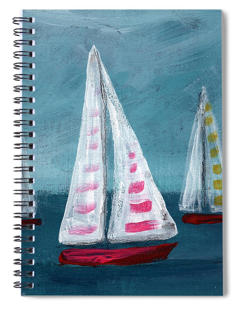 Boats Spiral Notebook featuring the painting Three Sailboats by Linda Woods