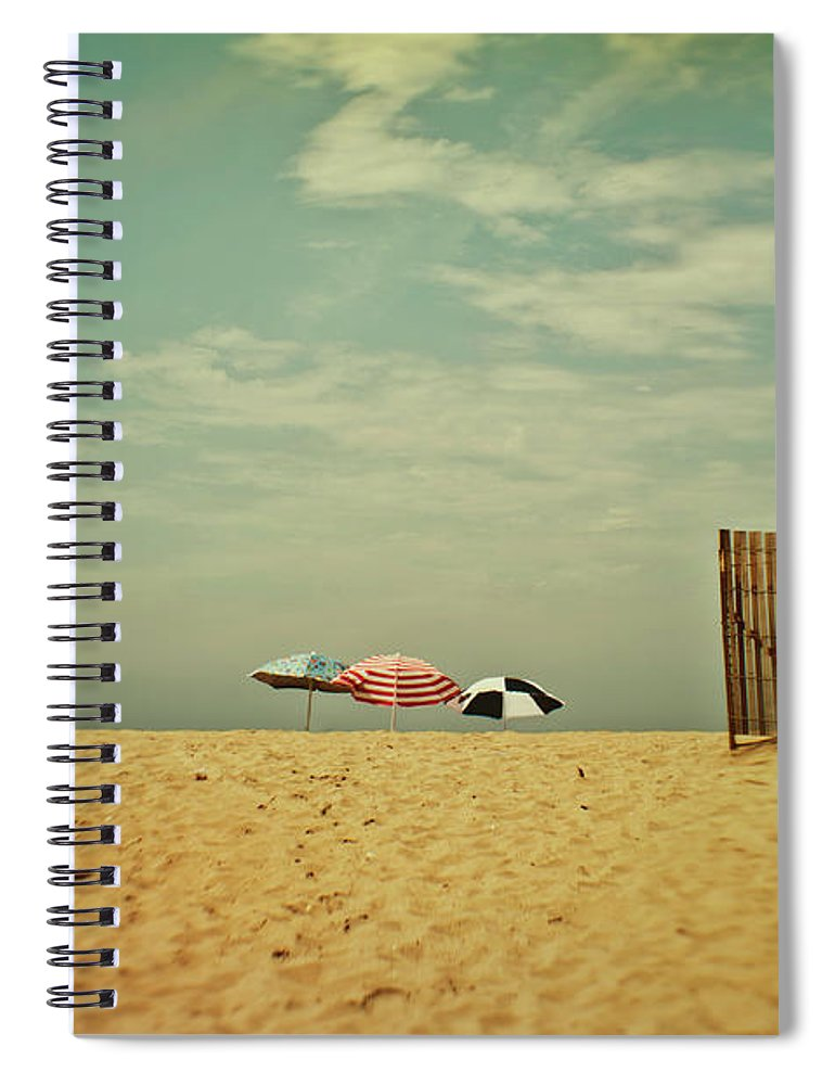 Tranquility Spiral Notebook featuring the photograph Three Umbrellas On The Beach by Suzanne Cummings